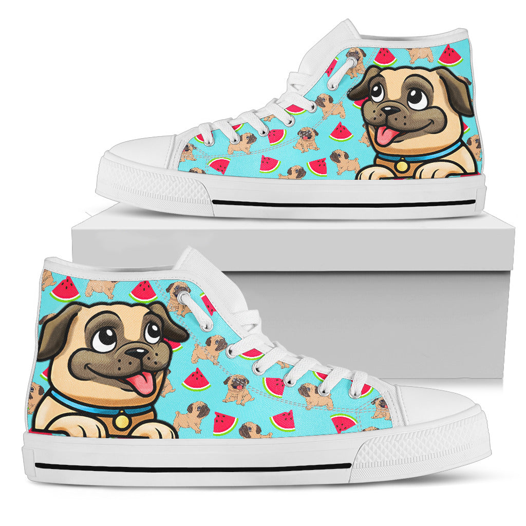 Pug High Tops Women's High Top - frenchie Shop