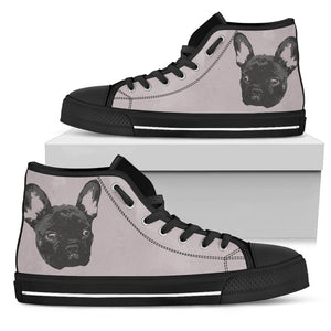 French Bulldog Monochrome Silhouette Style Women Top High Shoe - frenchie Shop
