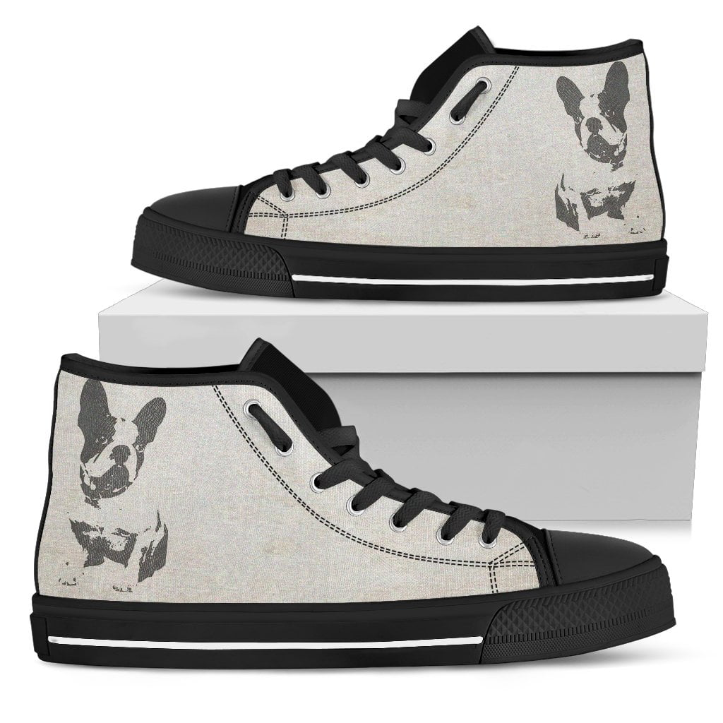 French Bulldog Silhouette Face Women High Top Shoes - frenchie Shop