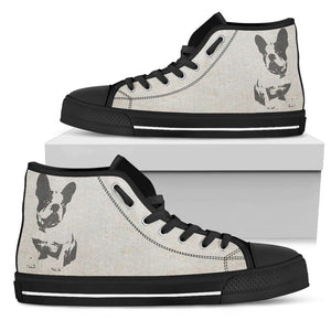 French Bulldog Silhouette Face Women High Top Shoes