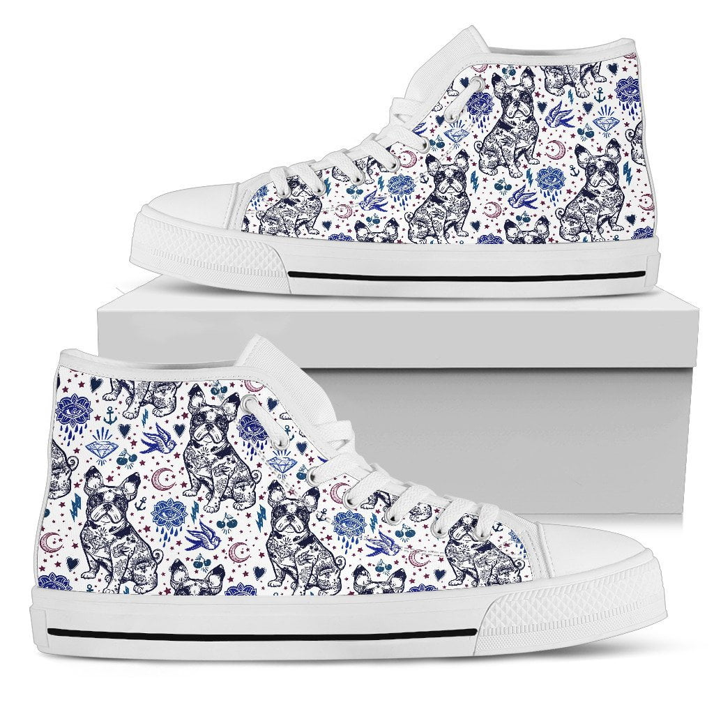 Frechie flowers Women's High Top - frenchie Shop