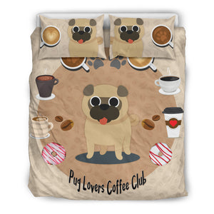 Pug Lovers Coffee Club Bedding Set - Frenchie Bulldog Shop
