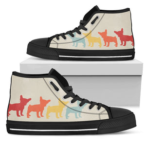 French Bulldog Vintage Style -High Top Shoe