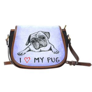 Love My Pug Leather Trim Saddle Bag - frenchie Shop