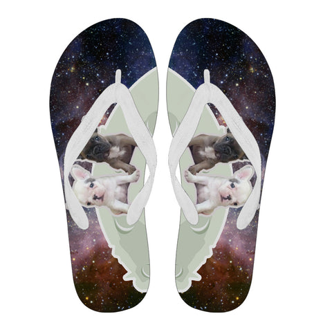 Frenchie Twin Puppy Galaxy -  Flip Flops - frenchie Shop