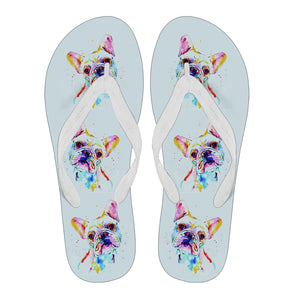 Frenchie Puppy Cute Painting - Flip Flops