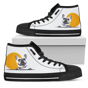 Happy Face -  Women High Top Shoe - frenchie Shop