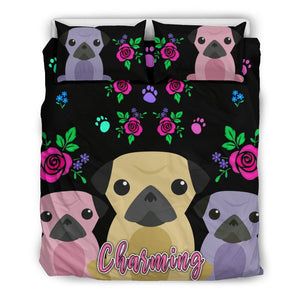 Charming Pugs Bedding Set Cute Pug Dogs - frenchie Shop