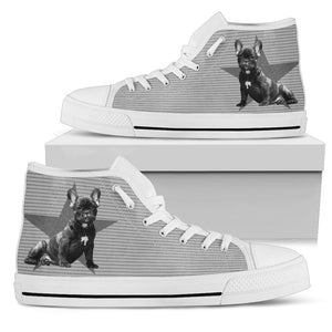 French Bulldog Monochrome Women High Top Shoes