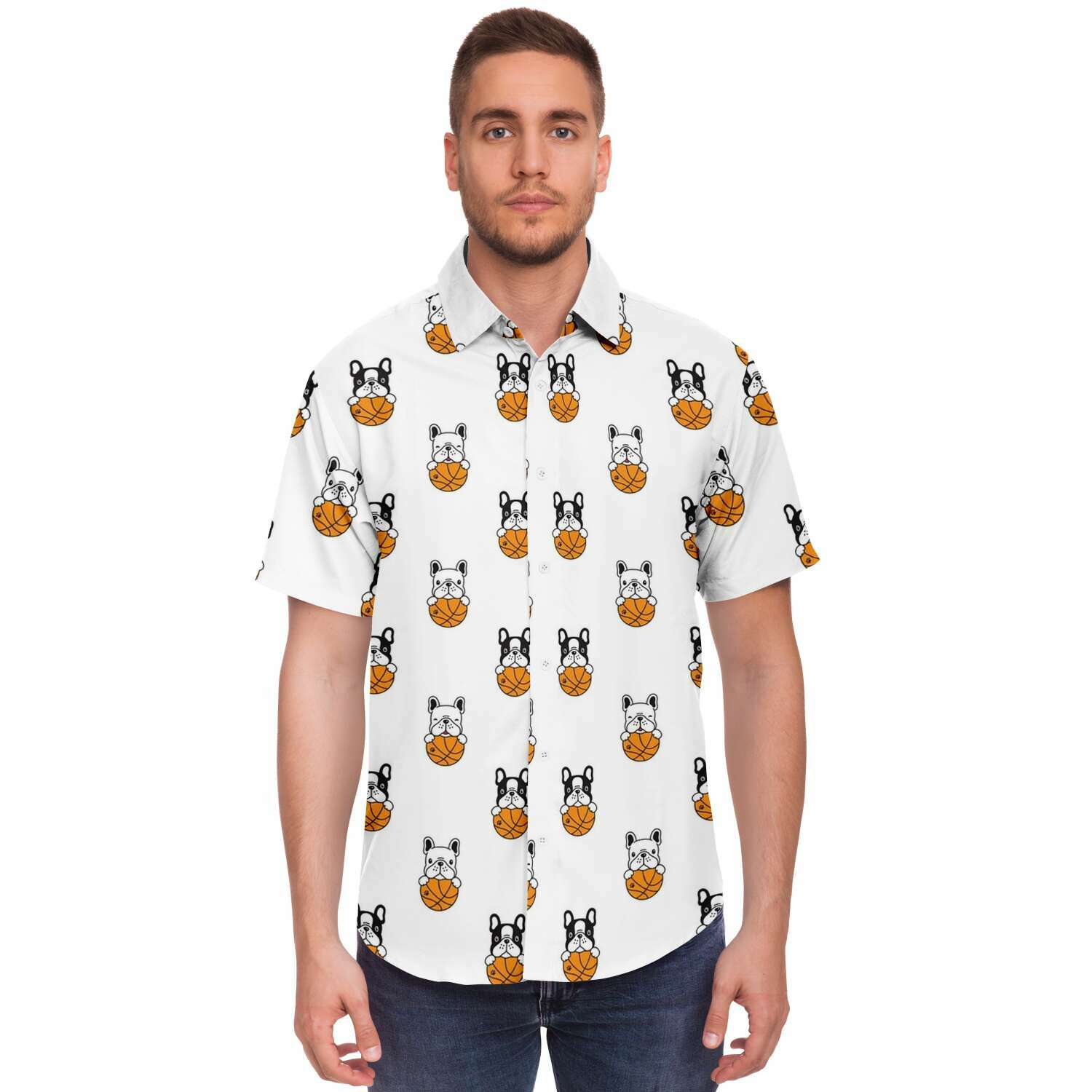 Stitch - Sleeve Button Down Shirt - Frenchie Bulldog Shop