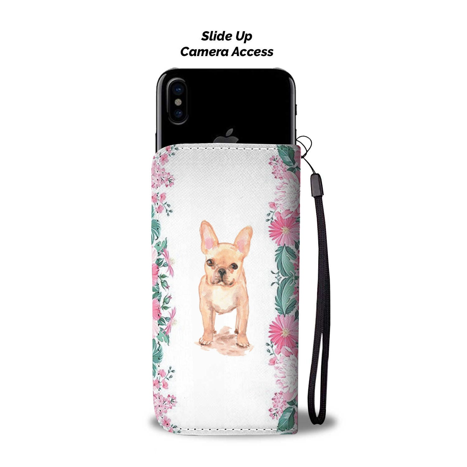 Cute Flower Frenchie - French Bulldog Wallet Case - Frenchie Bulldog Shop