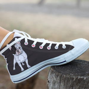 High Top Canvas Shoe - Bulldog MOM - frenchie Shop