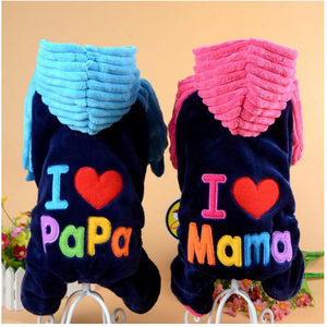 I Love Papa and Mama Hooded Puppy Outfit for French Bulldog (WS11) - Frenchie Bulldog Shop