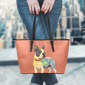 Frenchie Maps - Leather Tote Bag