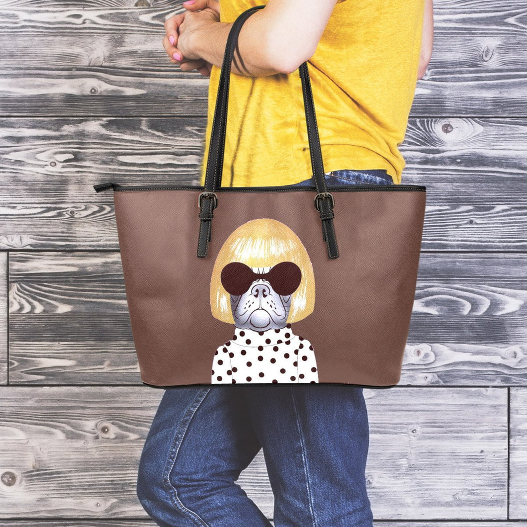 Woman Frenchie - Leather Tote Bag