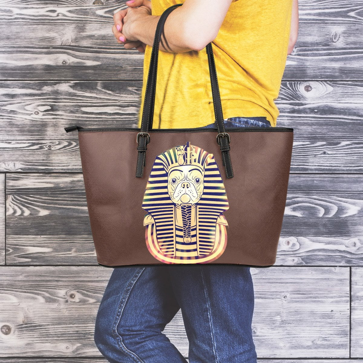 Pharaoh The Frenchie -  Leather Tote Bag - frenchie Shop