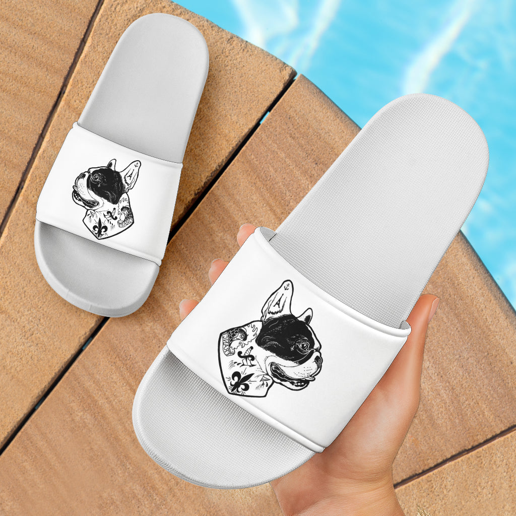 Funny Tattooed Frenchie - French Bulldog Slide Sandals - frenchie Shop