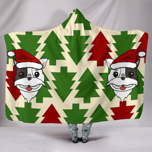 French Bulldog Santa Face Christmas Hooded Blanket