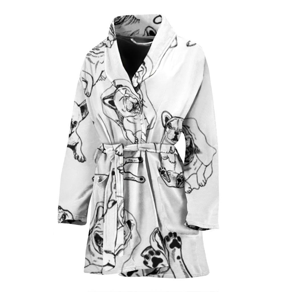 Funny Sketch Happy Frenchie - French Bulldog Bath Robe Wpmen - frenchie Shop