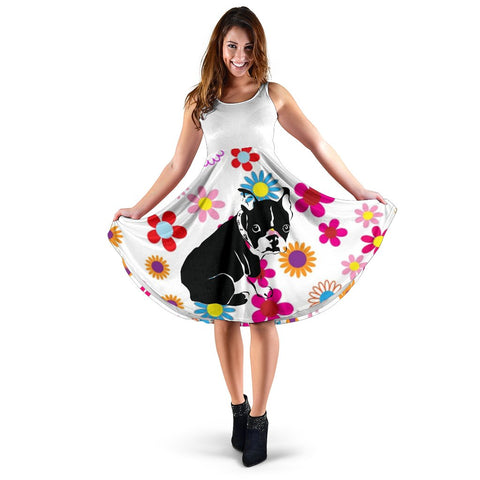 Frenchie Black Silhouette with a Flower - French Bulldog Women Dress - frenchie Shop