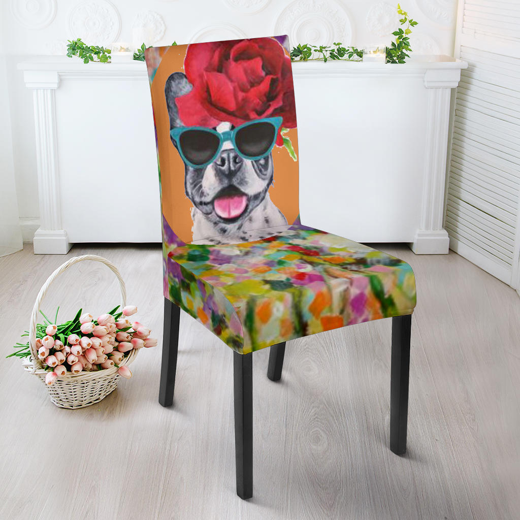 Flowers Painting Frenchie - French Bulldog Dining Chair - frenchie Shop