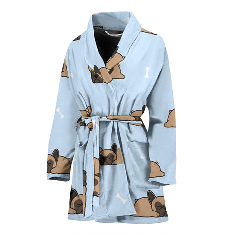 Funny Sleeping Frenchie - French Bulldog Bath Robe Women - frenchie Shop