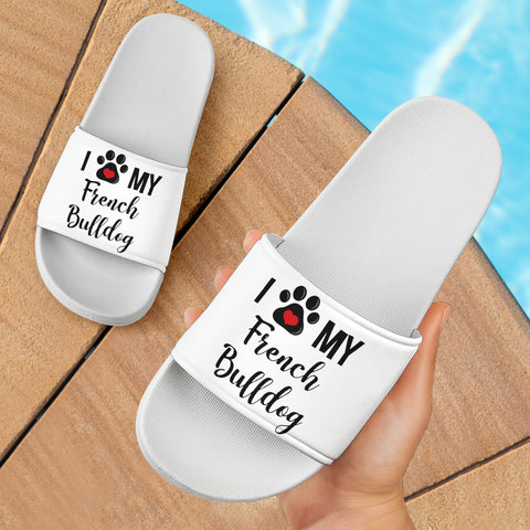 Funny Love Frenchie - French Bulldog Slide Sandals - frenchie Shop