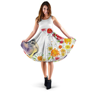 Frenchie Flower Painting - French Bulldog Women Dress - frenchie Shop
