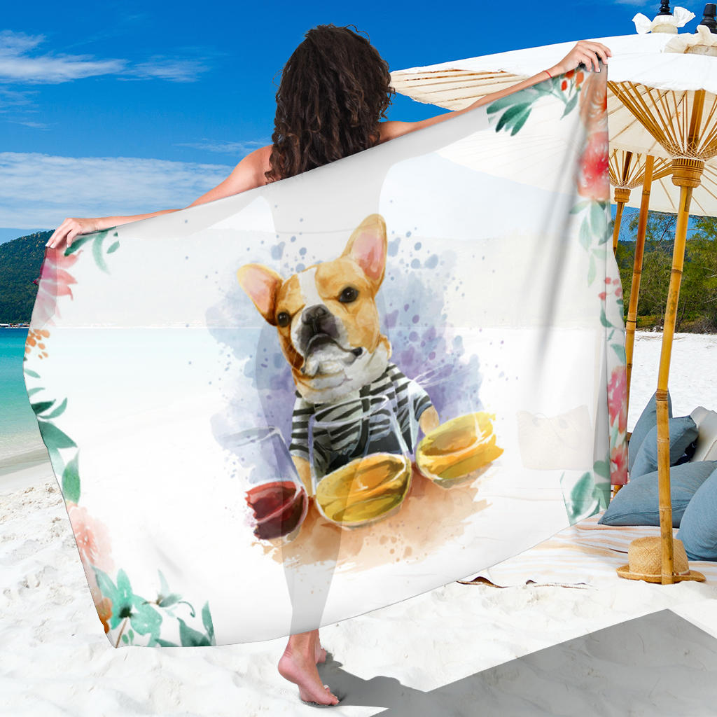 Painting Frenchie - French Bulldog Sarong - frenchie Shop