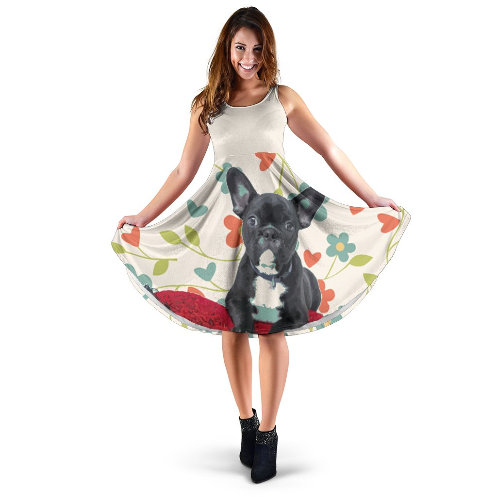 Frenchie Black Flower - French Bulldog Women Dress - frenchie Shop