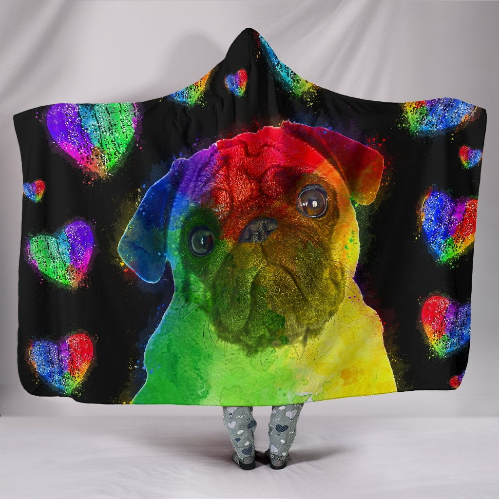 Love Pug Hooded Blanket for Lovers of Pugs and Dogs - Frenchie Bulldog Shop
