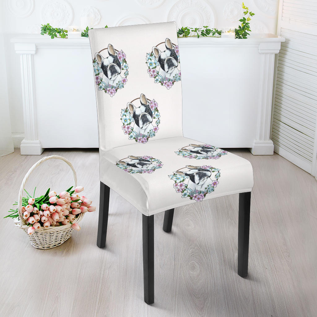 Flower White Frenchie - French Bulldog Dining Chair - frenchie Shop