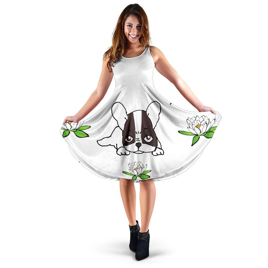 Frenchie White Flower - French Bulldog Dress - frenchie Shop
