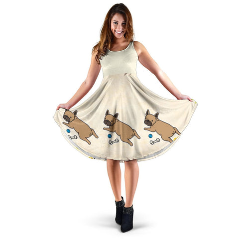 Frenchie Brown Flower - French Bulldog Women Dress - frenchie Shop