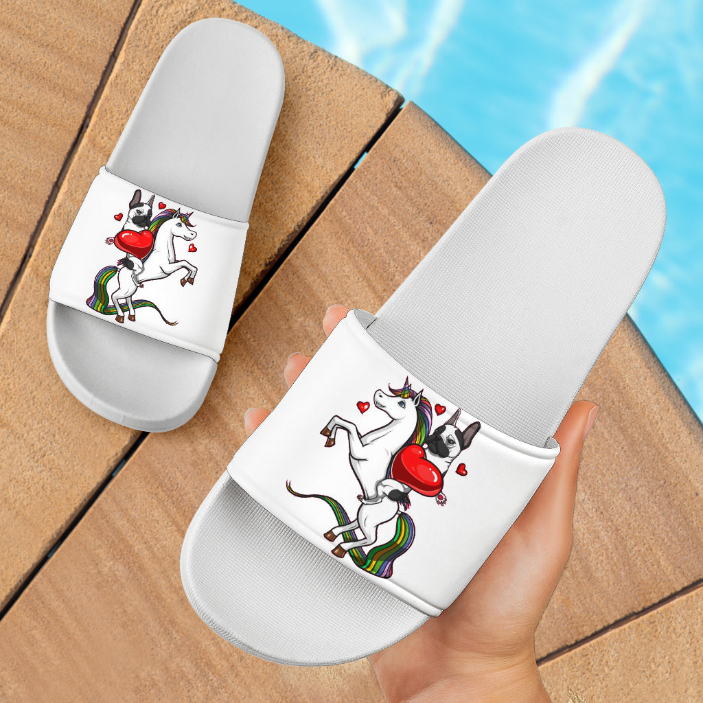 Funny Unicorn Frenchie - French Bulldog Slide Sandals - frenchie Shop
