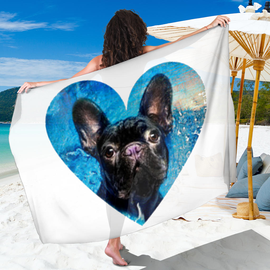 Love Black Frenchie - French Bulldog Sarong - frenchie Shop