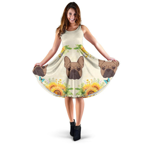 Frenchie Brown with Sunflower - French Bulldog Women Dress - frenchie Shop