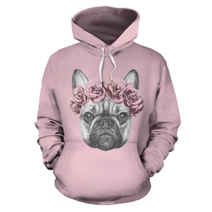 Pink Flower Frenchie - French Bulldog Hoodie - frenchie Shop