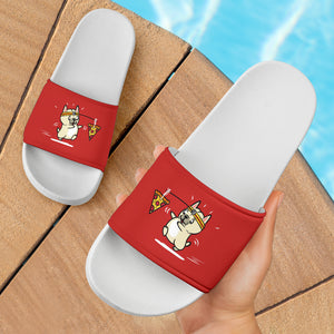 Funny Pizza Frenchie - French Bulldog Slide Sandals - frenchie Shop