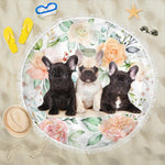 Flower Three Frenchie - French Bulldog Beach Blanket - Frenchie Bulldog Shop