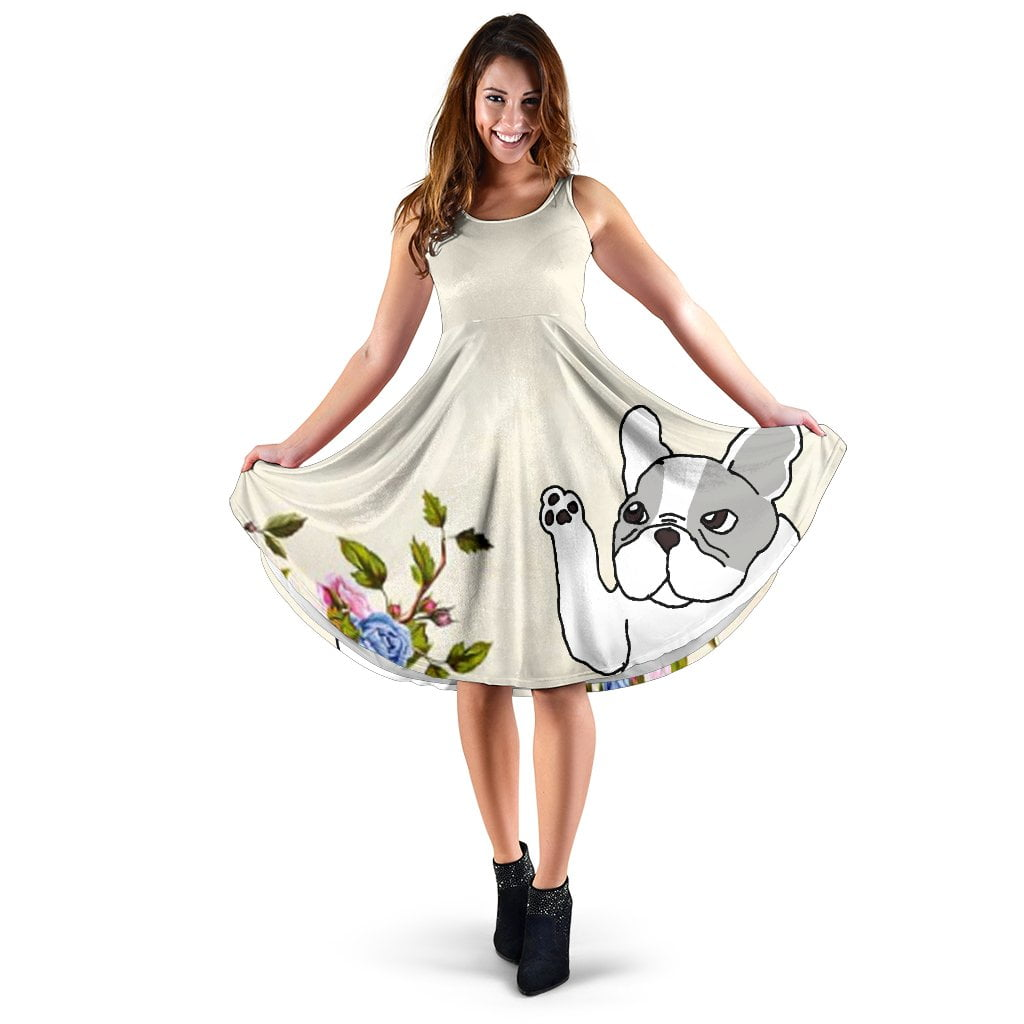 Frenchie White with Flower - French Bulldog Women Dress - frenchie Shop