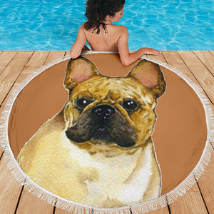 Brown Model Frenchie - French Bulldog Beach Blanket
