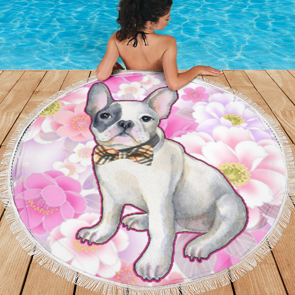 Flower Frenchie - French Bulldog Beach Blanket