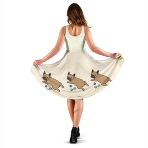 Frenchie Brown Flower - French Bulldog Women Dress