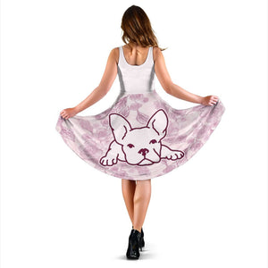 Frenchie White with Pink Flower - French Bulldog Women Dress