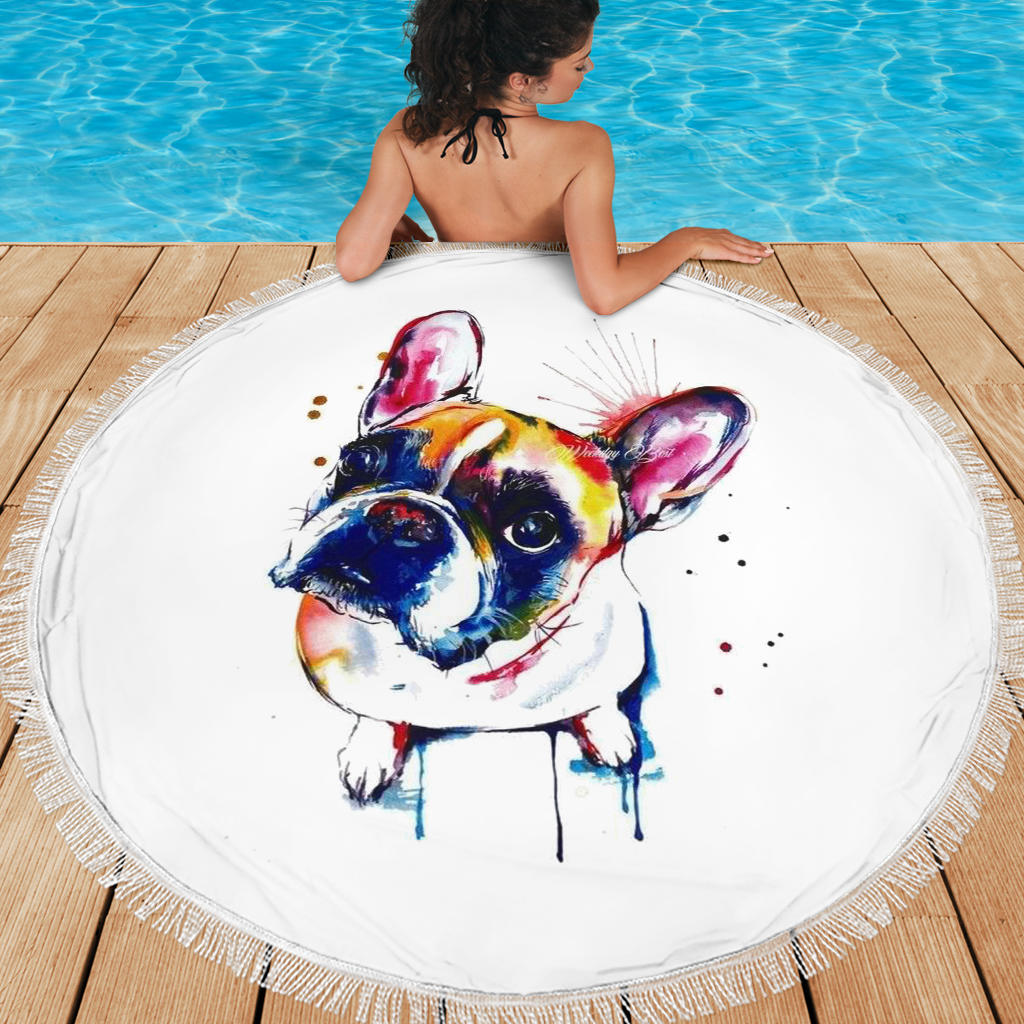 Painting Abstract Frenchie - French Bulldog Beach Blanket