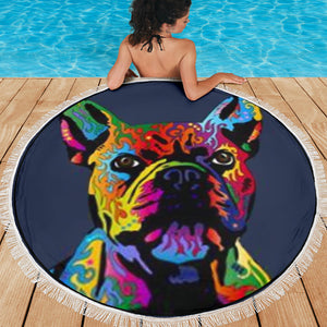 Painting Frenchie - French Bulldog Beach Blanket
