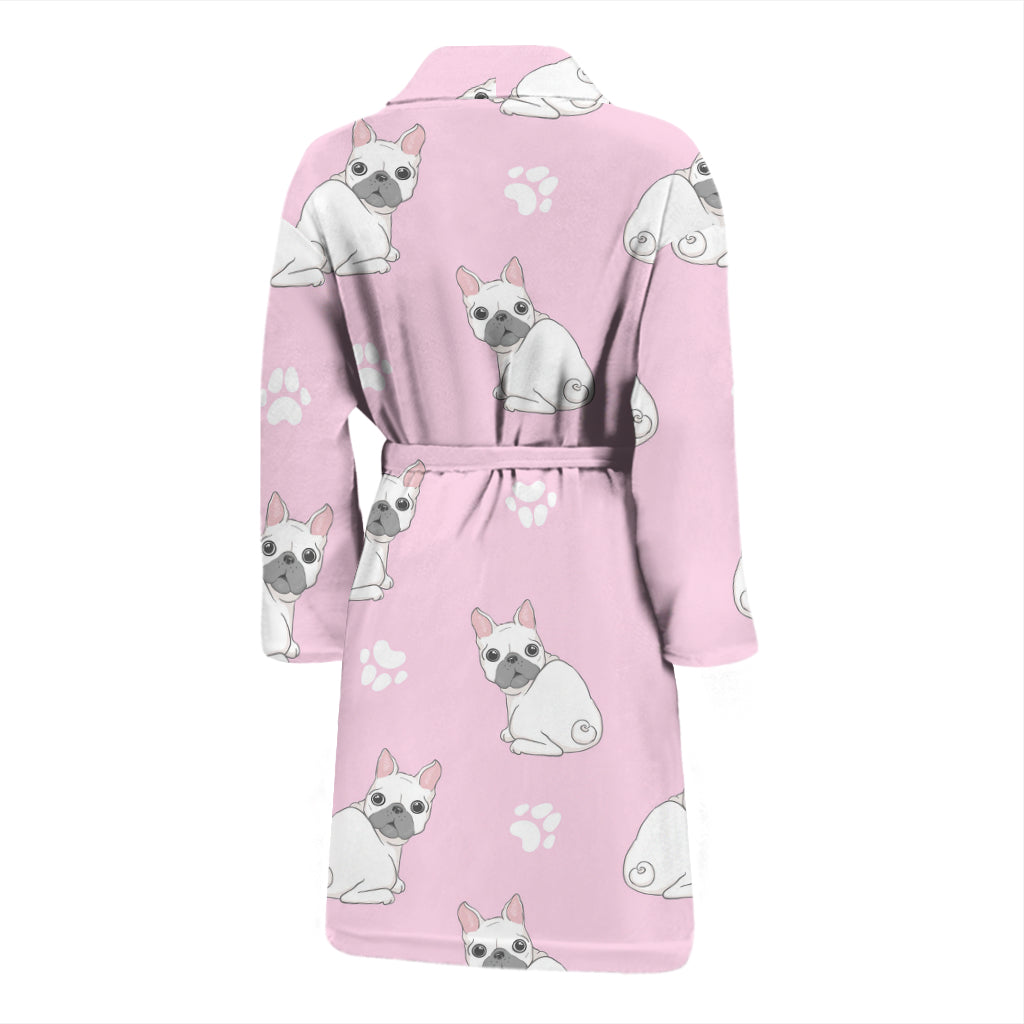 Cute White Frenchie - French Bulldog Bath Robe Men - frenchie Shop