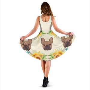 Frenchie Brown with Sunflower - French Bulldog Women Dress