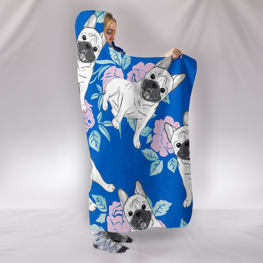 Frenchie with Flower - French Bulldog Hooded Blanket - frenchie Shop